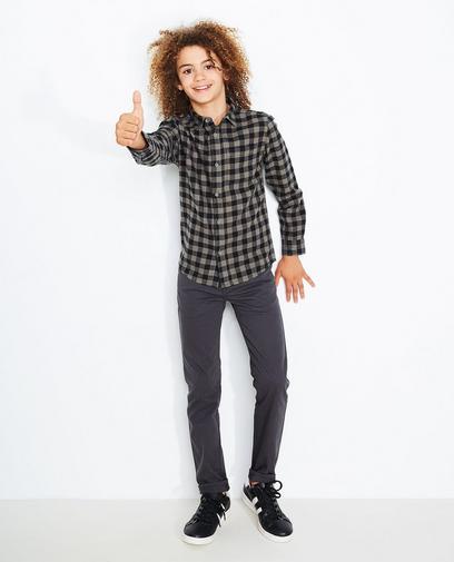 Kaki-zwart geruit hemd